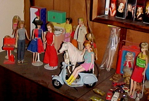 Barbie and friends, plus Heidi, a troll, and a Breyer horse.