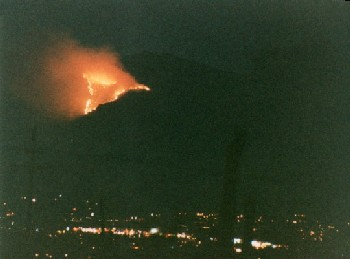 Fire on Mount Lemmon, overlooking the city.