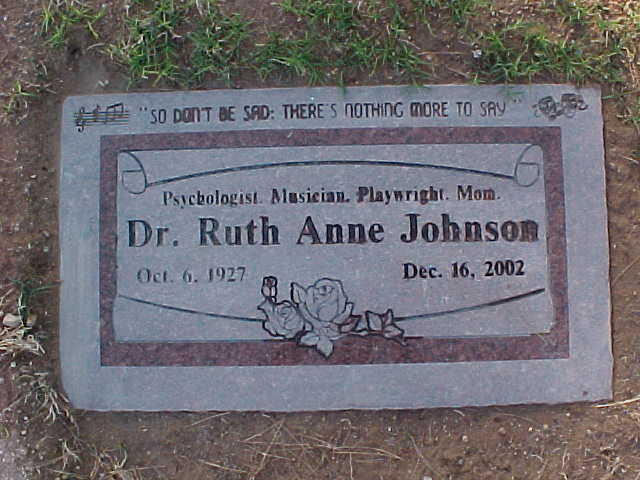 Ruth Anne Johnson grave marker