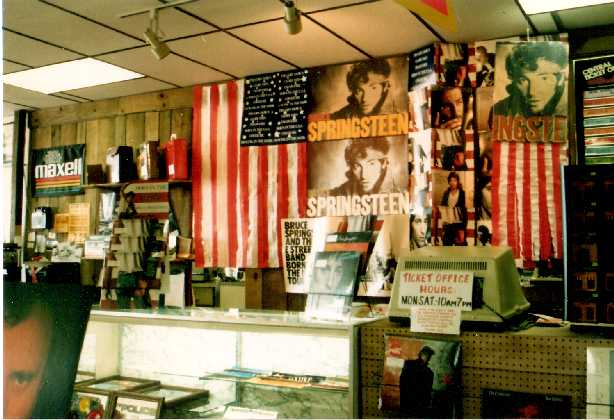 Part of my contest-winning Springsteen display. Note the ticket counter, an obvious target for robbery.