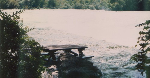 Why is there a picnic table in the Niagara River above the falls?
