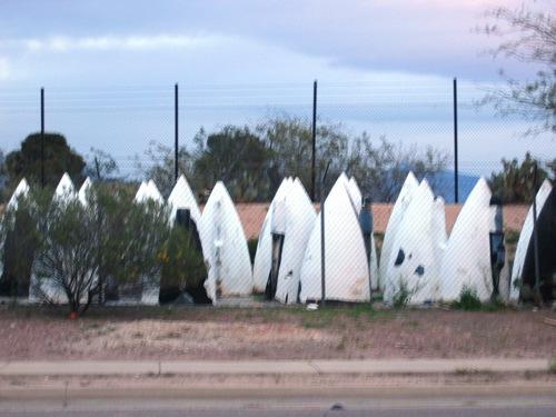 plane nosecones, looking like alien huts