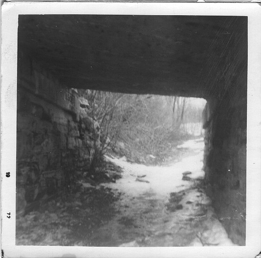 Under the railroad bridge.  Winter, 1972.