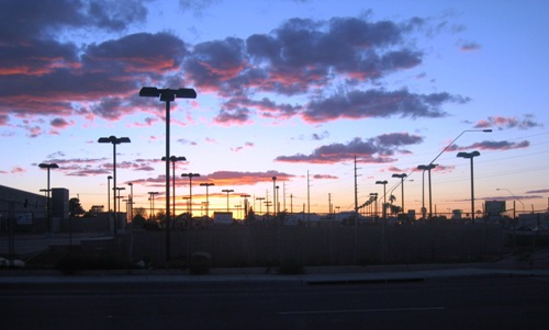 sunset over the Jim Click lot