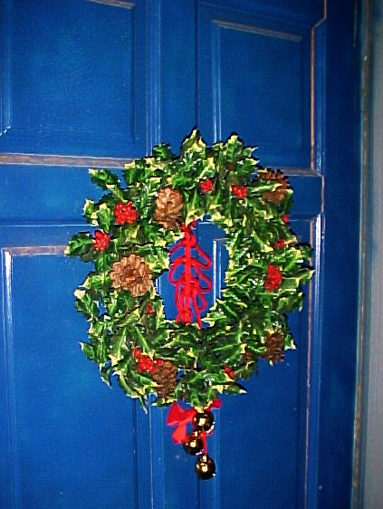 The wreath on our door is about 40 years old.  The bells are newer than that.