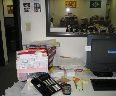 After: left side of my desk, 5/6/05