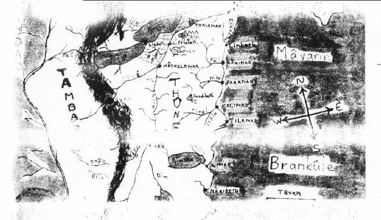 bad photocopy of part of a map I probably drew myself.