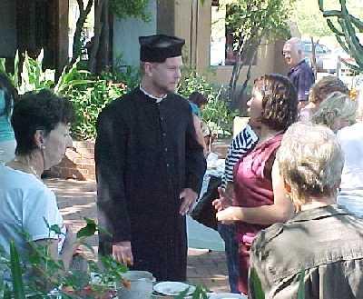 Fr. Daniel has a chat