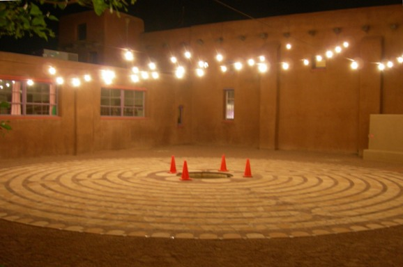 The labyrinth with the baptismal pool.
