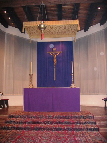 The main altar during Lent. Photo by KFB.