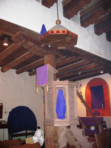 The pulpit during Lent. Photo by KFB.