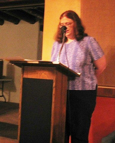 Karen does the first reading on Maundy Thursday 2005